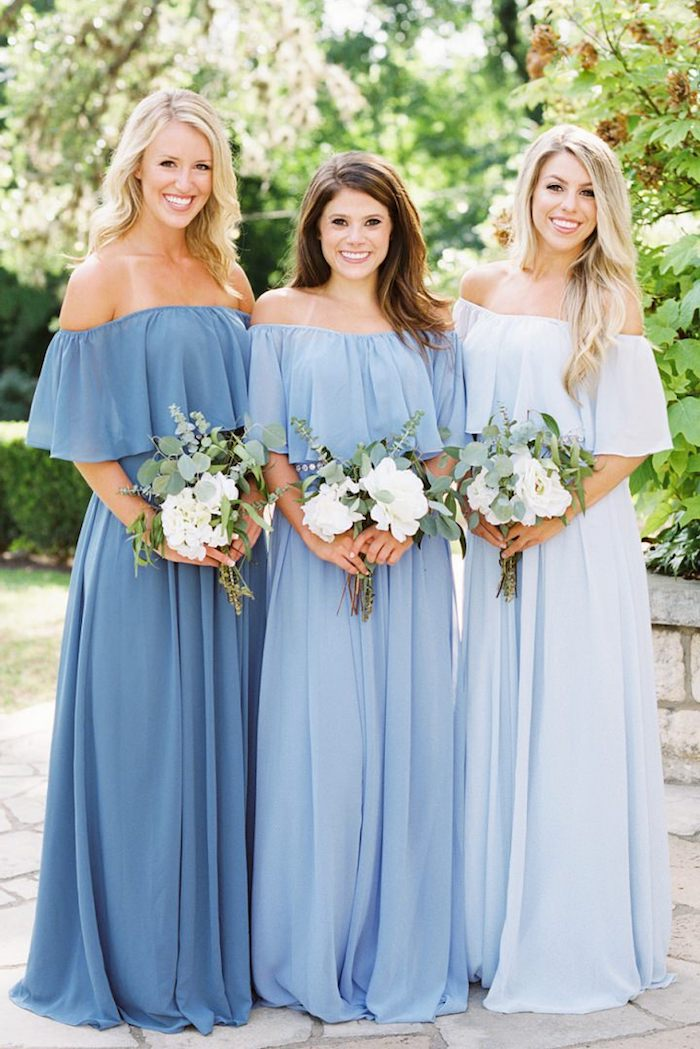 Robe longue pour mariage tenue habillée femme printemps robe à porter robe bleu epaules denudees