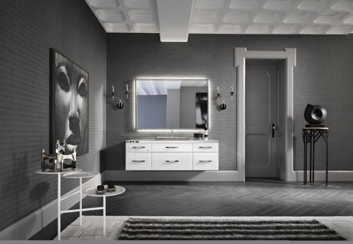 meuble armoire blanche et table ronde noire comme une idée quelle couleur associer au gris dans la déco du salon ou de la salle de bain