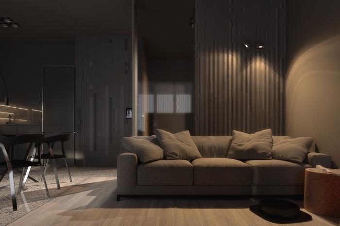 look monochrome dans un salon ouvert vers la salle à manger avec revêtement mural en couleur taupe gris