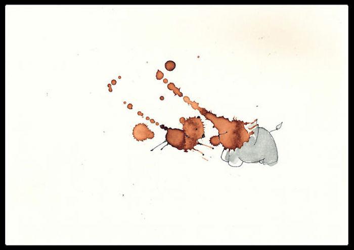 Cool dessin facile mignon dessin de lapin trop mignon animaux et fruits dessin de tache de café