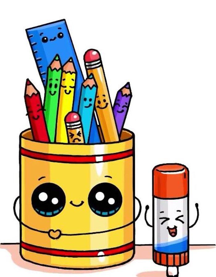 Comment dessiner une boite de crayons mignon et comment dessiner les crayons mignon avec visages