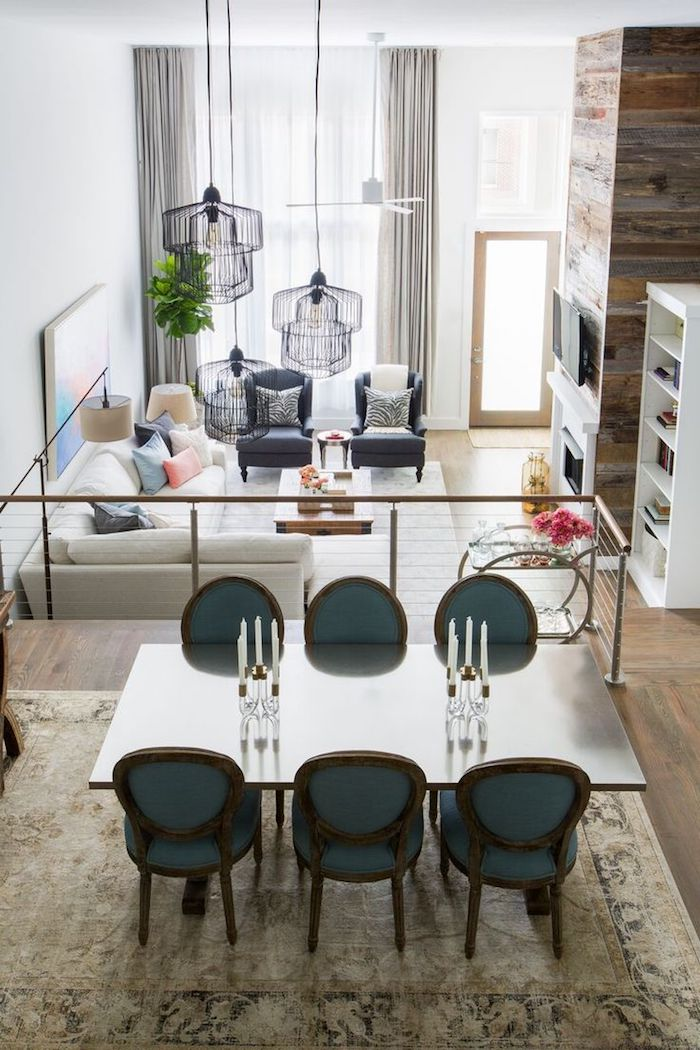 Amenagement salon salle à manger 20m2 idee deco peinture salon moderne deux étages