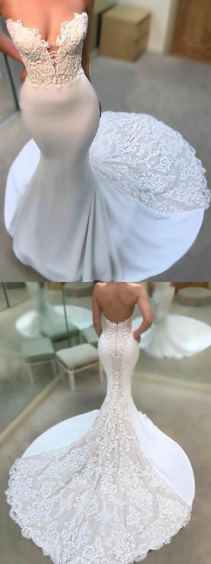robe de mariée sirene, robe sirene mariage, robe de mariée près du corps, partie basse en éventail, partie en dentelle blanche transparente tout au long du dos et sur la traîne