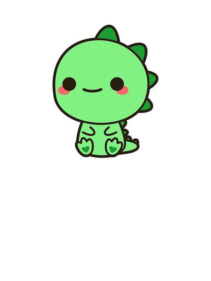 Dessin de dinosaure mignon coloré en vert facile à faire soi meme dessin chat mignon