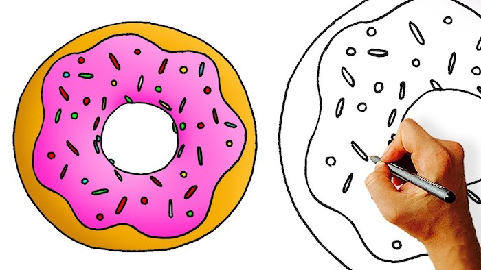 Cool kawaii doughnut dessin cool dessin d animaux image à copier idée dessin adorable