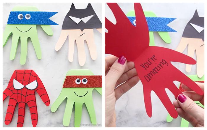 carte fête des pères maternelle, empreintes de main en papier avec motif héro, superman batman, ninja