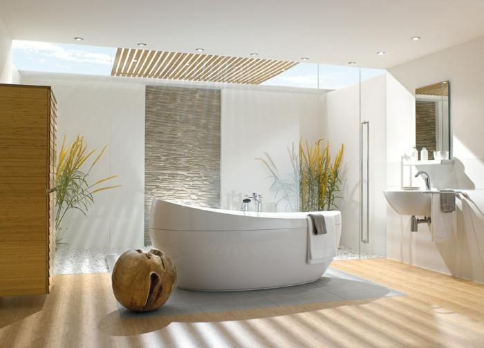 salle de bain luxueuse, parquet au sol en bois pvc, baignoire blanche ovale, plante pour salle de bain en vert et jaune, meuble armoire de salle de bain, ouverture au plafond en verre transparent