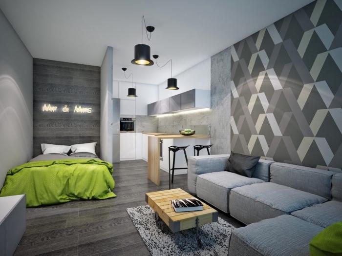 idée comment optimiser l'espace dans un petit studio aménagé avec meubles de bois clair, déco murale en nuances de gris