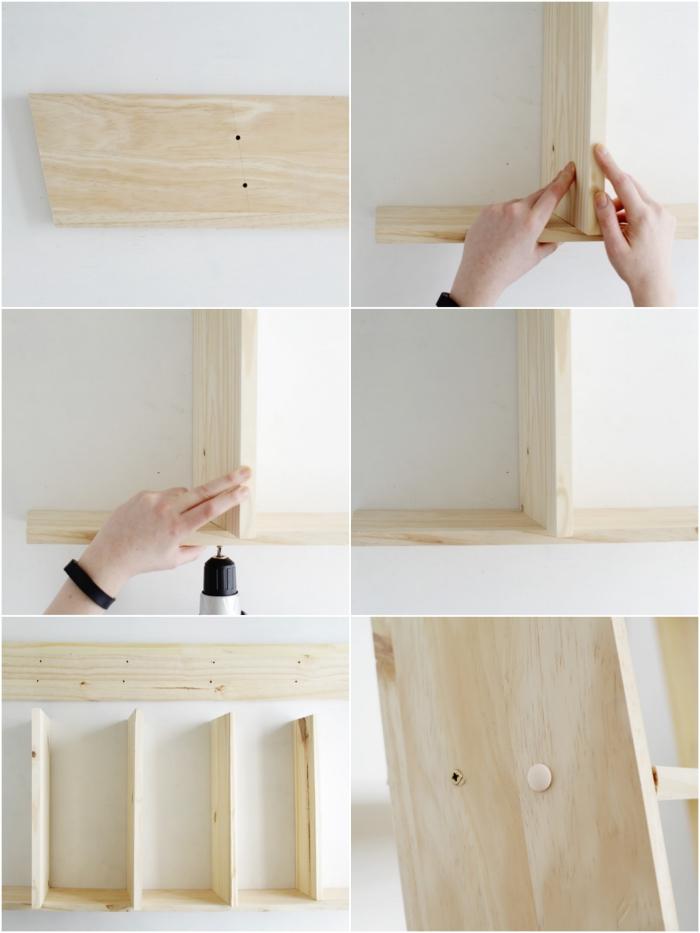 les étapes de fabrication d'une petite échelle étagère à chaussures qui permet d'avoir ses accessoires favoris à sa portée