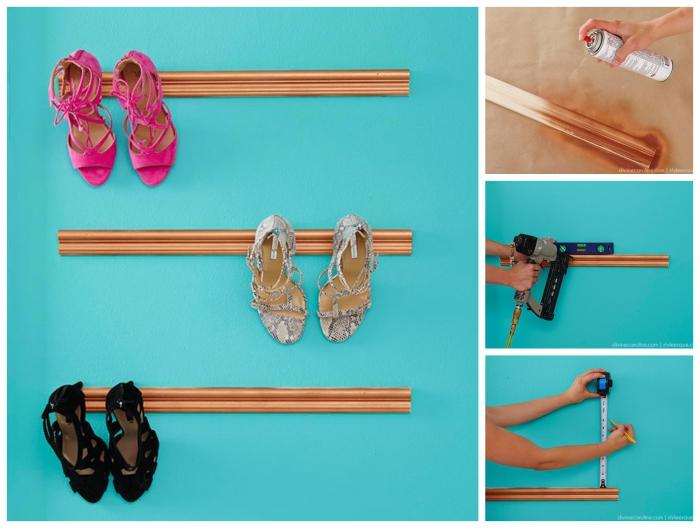 tuto facile pour réaliser une étagère à chaussures fixée au mur à partir des moulures récupérées
