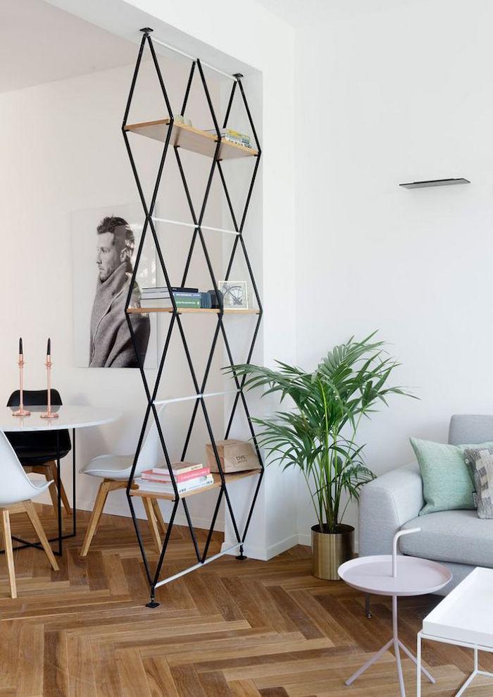 modele étagere design pour séparer les pièces cuisine et salon sur plancher