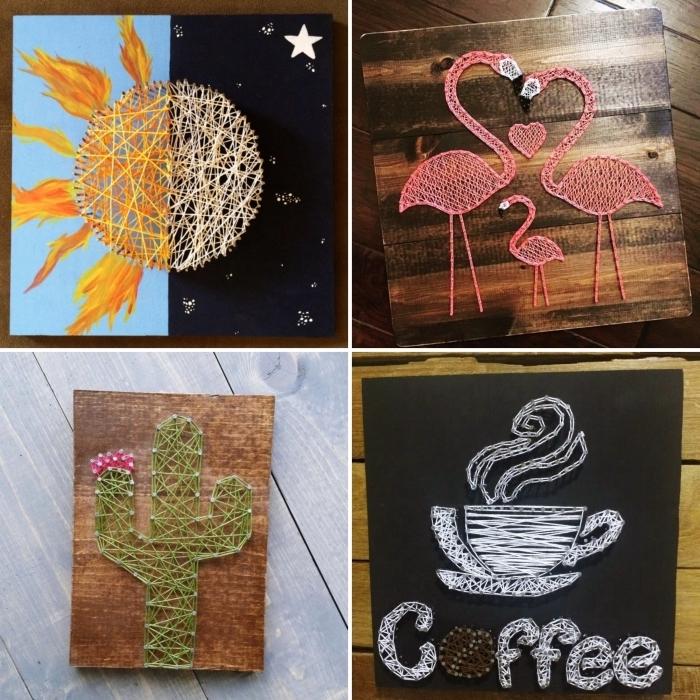 différents modèles de tableaux en bois foncé avec création en fil en formes d'animaux ou fleurs à accrocher sur les murs