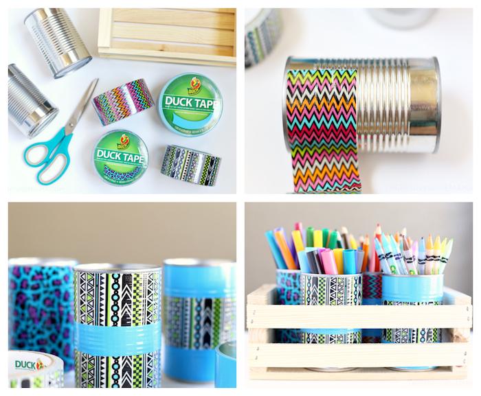 tuto bricolage fête des pères, boite de conserve décorée de bande de washi tape décorative et peinture acrylique bleue