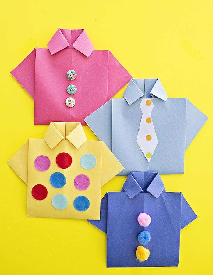 carte fête des pères maternelle en chemise de papier décoré de petits pompons, boutons et papier coloré