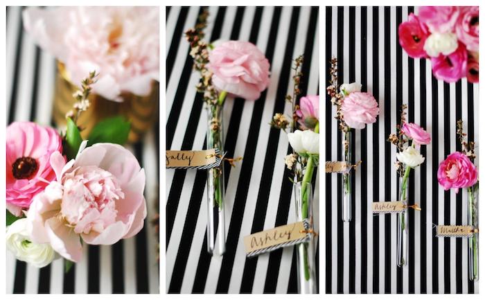 marque place mariage floral, soliflore en tube de verre avec brin de fleur dedans, petite étiquette papier kraft