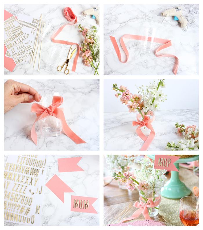 bouquet de fleurs fraiches dans un verre simple décoré d un ruban rose, étiquette sur une baguette bois avec lettres adhésives collées sur un carton en papier