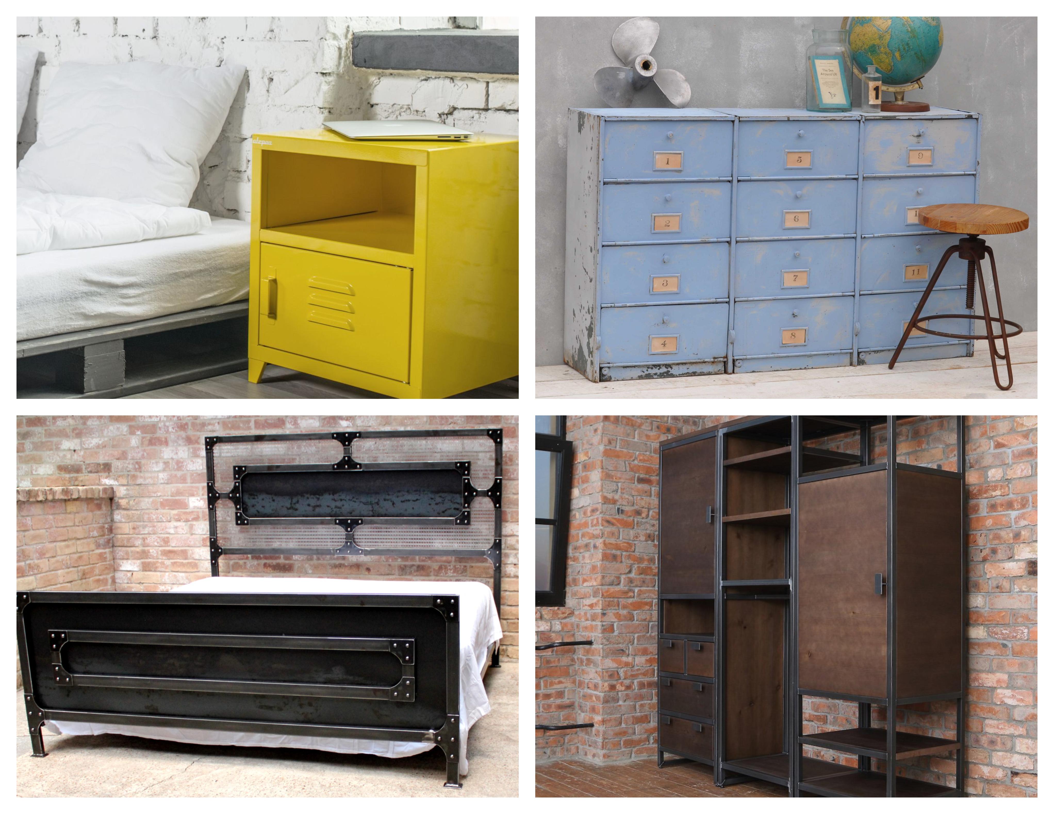 quel meuble industriel adopter dans la chambre à coucher, armoire, commode, table de nuit, lit style industriel, mur de briques et mur en béton