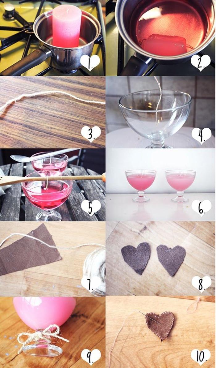 comment réaliser une bougie dans un verre à pied personnalisée avec une étiquette diy en forme de coeur, idée orignal de bricolage fete des meres