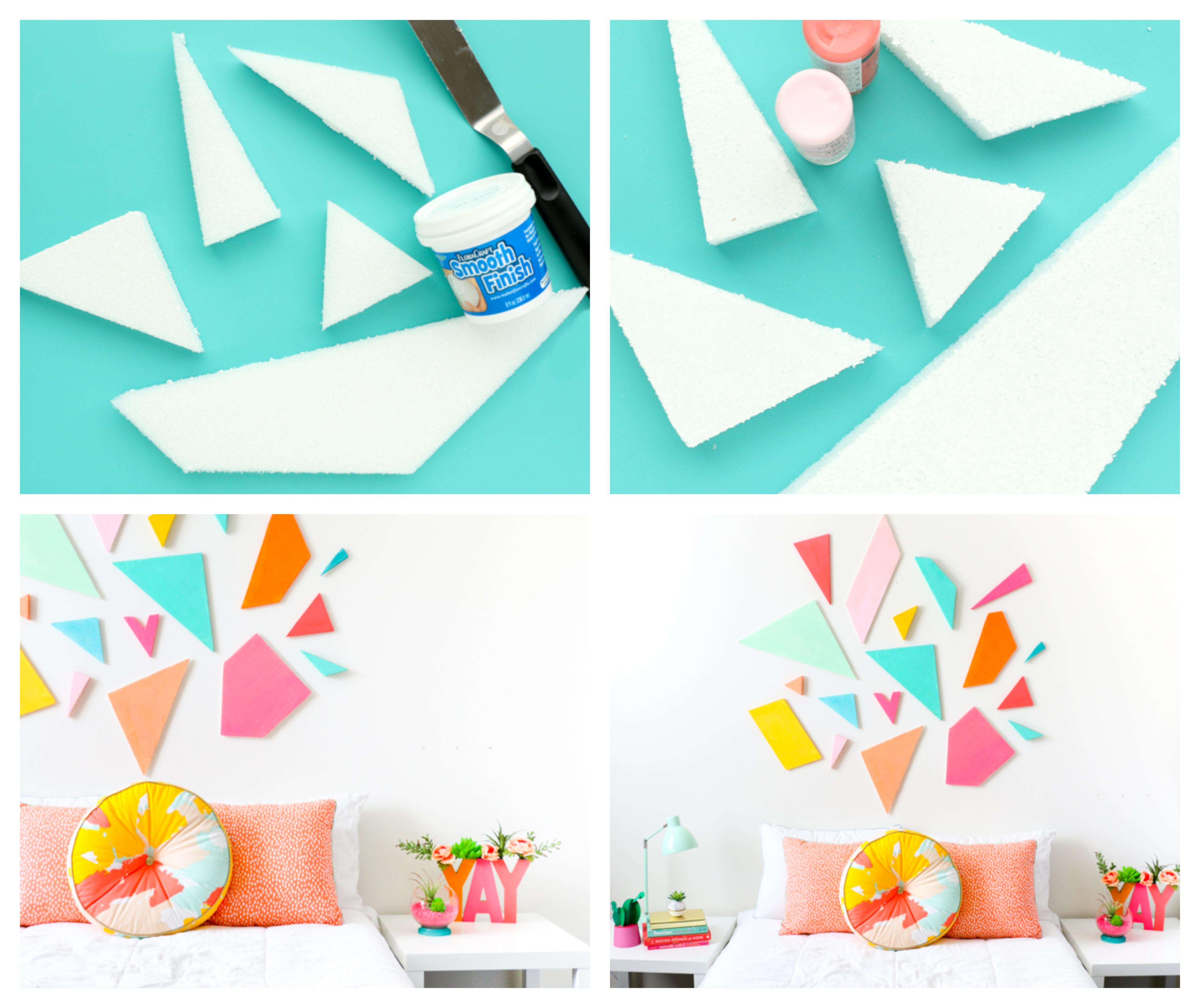 comment faire une tete de lit originale en polystyrène, figurines colorées, coussins coloré, linge de lit blanc