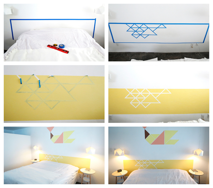tete de lit originale géométrique en triangles sur un rectangle peinture jaune derrière le lit, bricolage facile et rapide