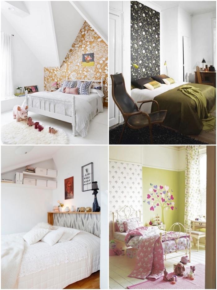 quelques idées originales pour décorer une chambre à coucher à petit budget, comment faire une tete de lit en papier peint