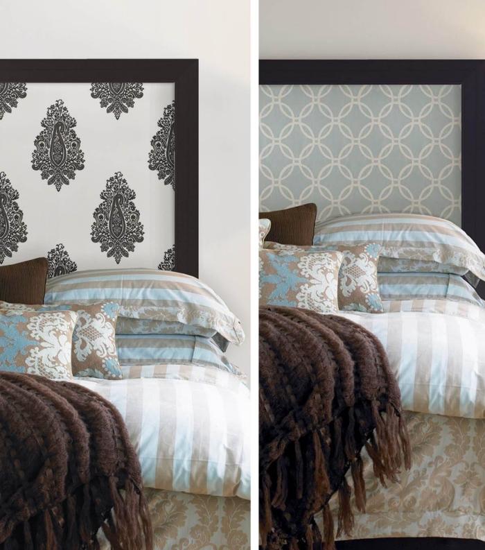 idées déco originale dans la chambre à coucher avec une tête de lit en papier peint imprimé vintage encadré