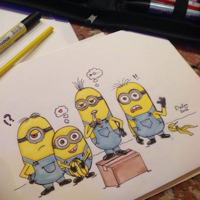Dessin facile à dessiner comment dessiner un minion superbe dessin trop mignon tous les minions chouette dessin