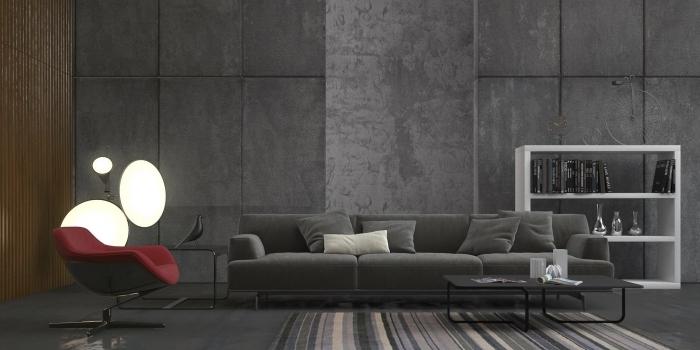 modèle de peinture gris anthracite dans un salon moderne aménagé avec canapé gris et meuble rangement blanc