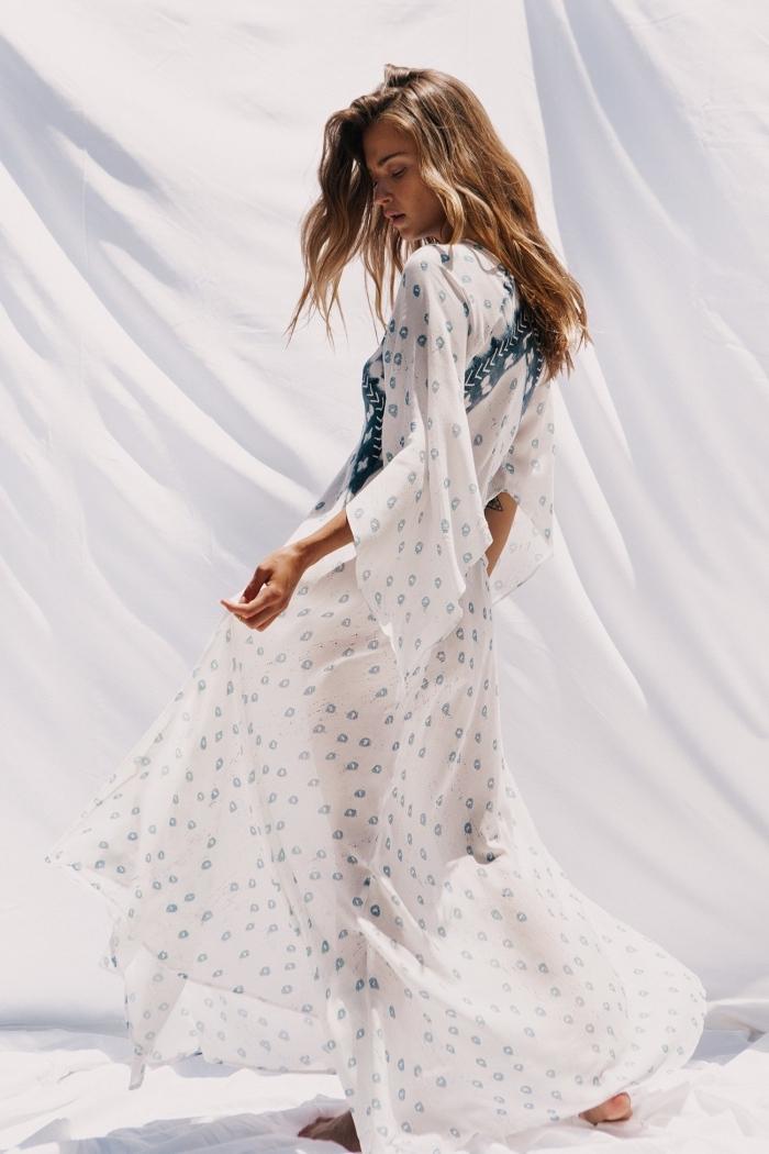 idée comment choisir un vetement été femme confortable avec exemple modèle de robe blanche longue et fluide