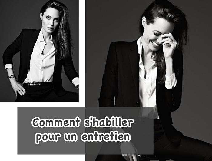 conseils et idées pour réussir son style vestimentaire femme au travail, Angelina Jolie en tailleur noir et chemise blanche