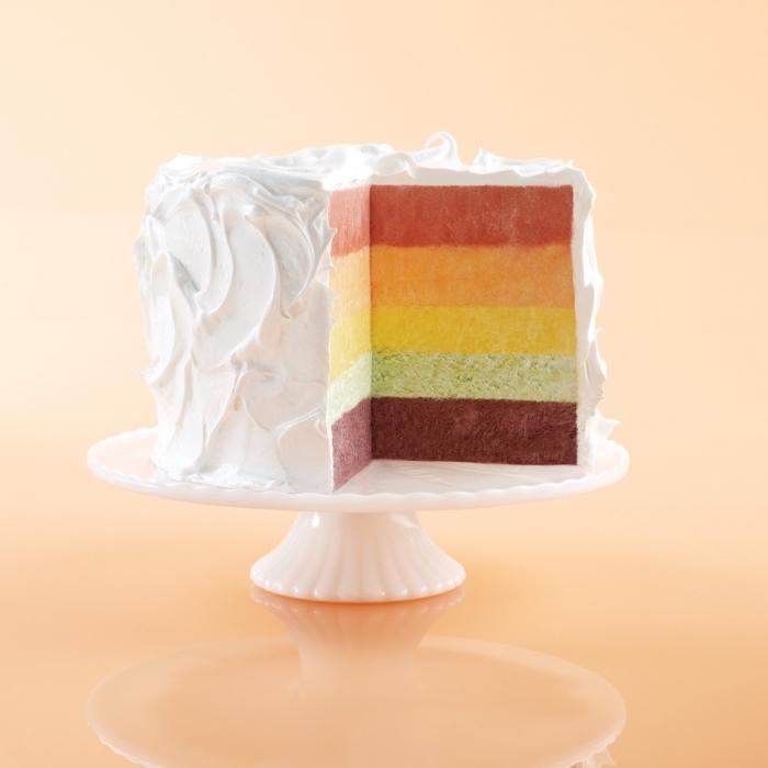 comment faire un gateau arc-en-ciel glacé, recette de gâteau arc-en-ciel original de martha stewart