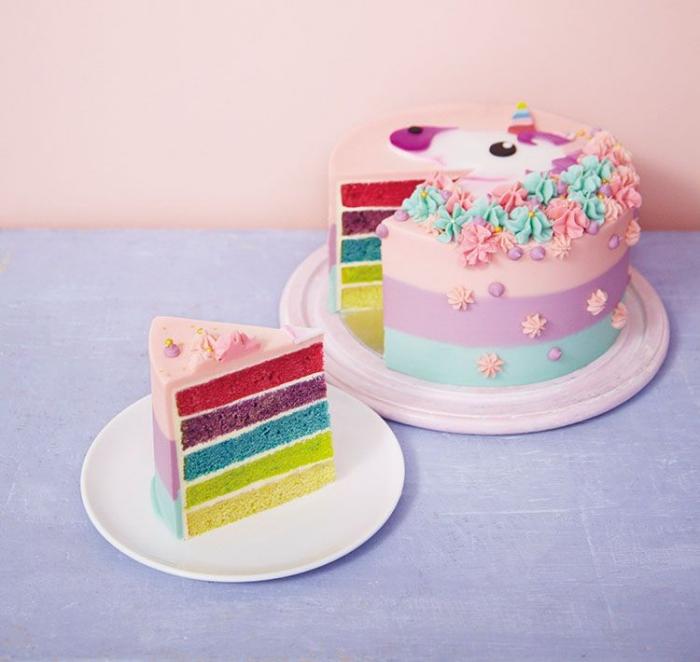 un gateau arc en ciel original pour célébrer un anniversaire sur le thème licorne, un joli rainbow cake au glaçage en couleurs pastel décoré d'une tête de licorne en pâte à sucre et des fleurs en glaçage