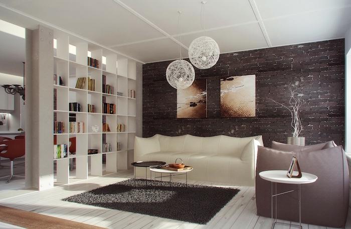 idées de séparation de salon avec grande bibliothèque blanche