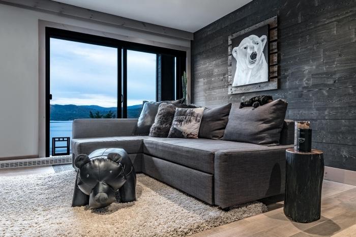 salon rustique aux murs blancs avec un revêtement partiel en bois gris foncé et plancher en bois clair couvert de tapis moelleux blanc