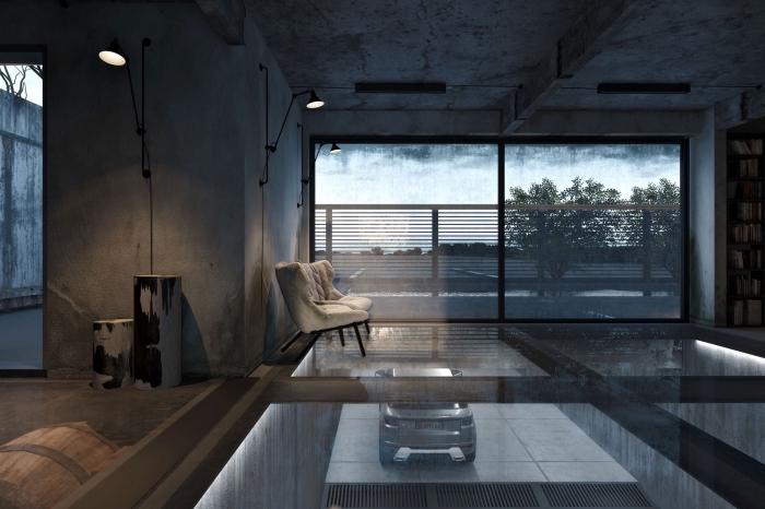 déco de style industriel avec plafond et murs imitation béton et plancher en verre, couleur tendance gris anthracite