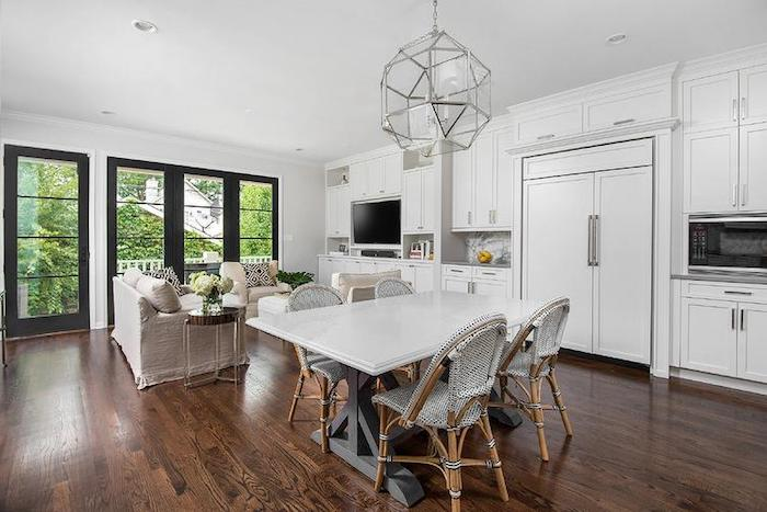 Idée déco salon moderne comment amenager salon salle a manger rectangulaire style rustique cuisine tout blanche