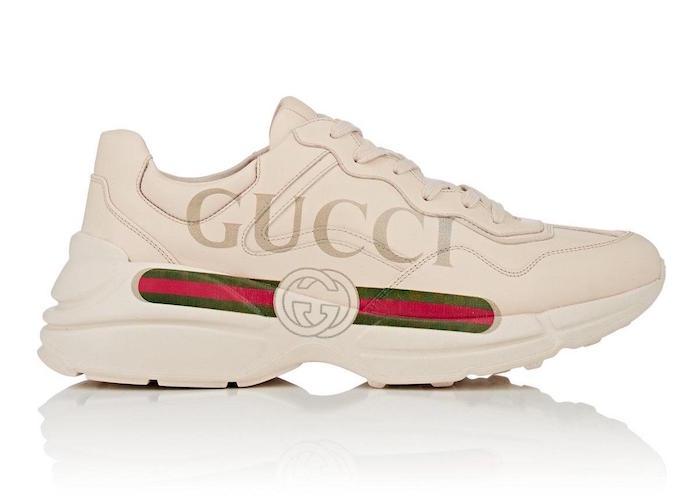 basket a la mode homme luxe Gucci Rhyton haut de gamme gros logo beige