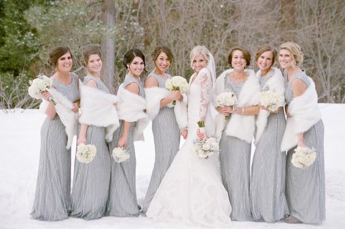 Mariage en hiver demoiselles d honneur robe argentée longue robe à choisir pour mariage thématique habillée tenue