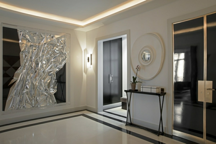 meuble entrée couloir simple, miroir décoratif, art extravagant