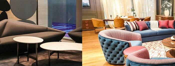 salon en gamme moderne pour 2018, tables basses, fauteuils en rose et bleu
