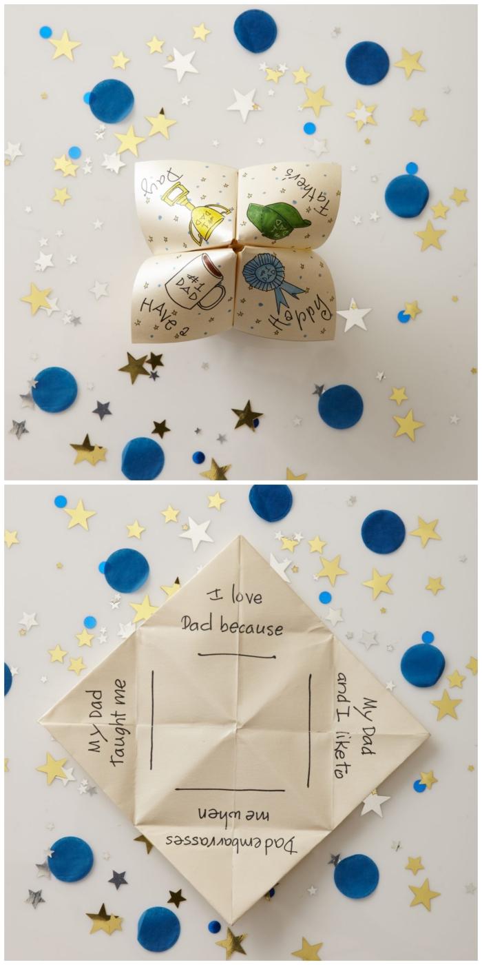 idée de cadeau original pour la fête des pères, une cocotte papier personnalisée avec des messages à compléter