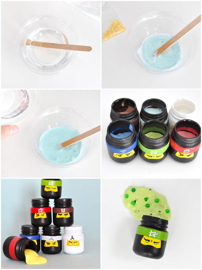 recette slime à faire soi-même pour un anniversaire sur le thème lego ninjago, des cadeaux d'invités en pots de verre personnalisés