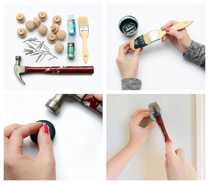fabriquer un patere original en boutons de porte de bois repeints et cloués dans le mur, bricolage facile et rapide