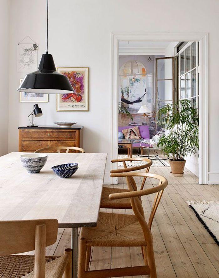 Idée couleur salon deco moderne salon déco salon salle à manger magnifique table bois massive salle à manger ouverte au salon