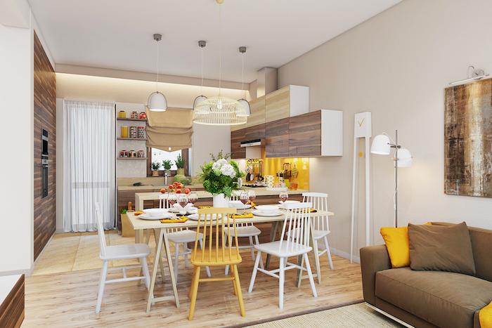 Salon sejour deco moderne salon déco salon salle à manger photo déco en jaune blanc et bois cuisine coin à manger et salon