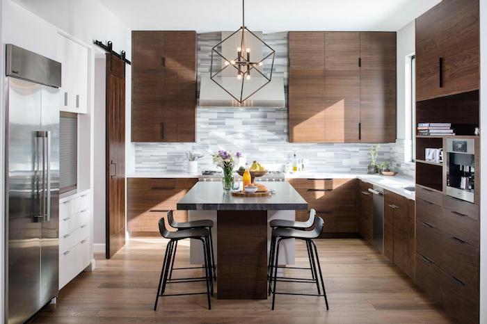Papier peint salle à manger deco moderne salon idée couleur salon déco en photo cuisine avec coin à manger