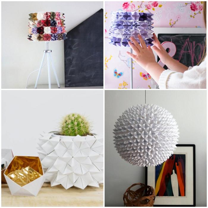 comment faire des cocottes en papier pour créer ensuite des objets déco en origami originaux, des lampes de tables et un cache-pot en origami qu'on peut réaliser facilement