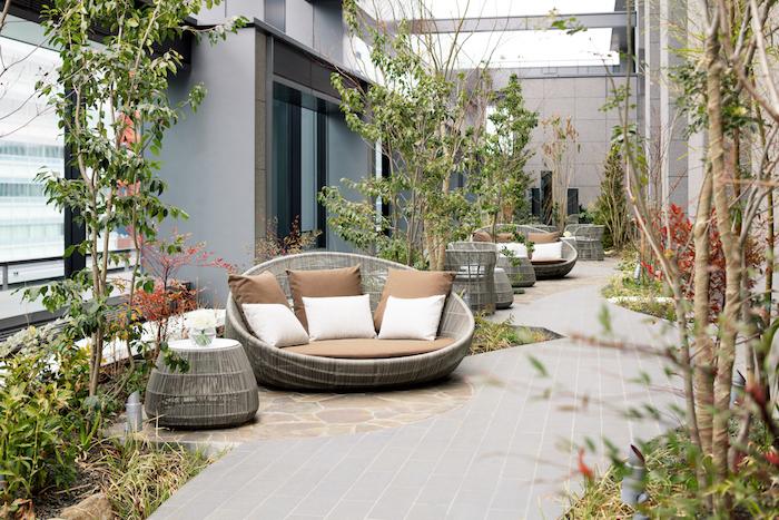 pavage exterieur beton, plusieurs tables et canapés tressés, buis et petits arbres verts, ilots détente en pierre