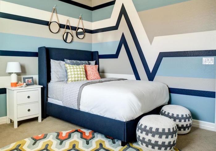 Idée Déco Peinture Chambre Pour Enfant Avec Mur Et Lit Bleu Blanc Et Gris