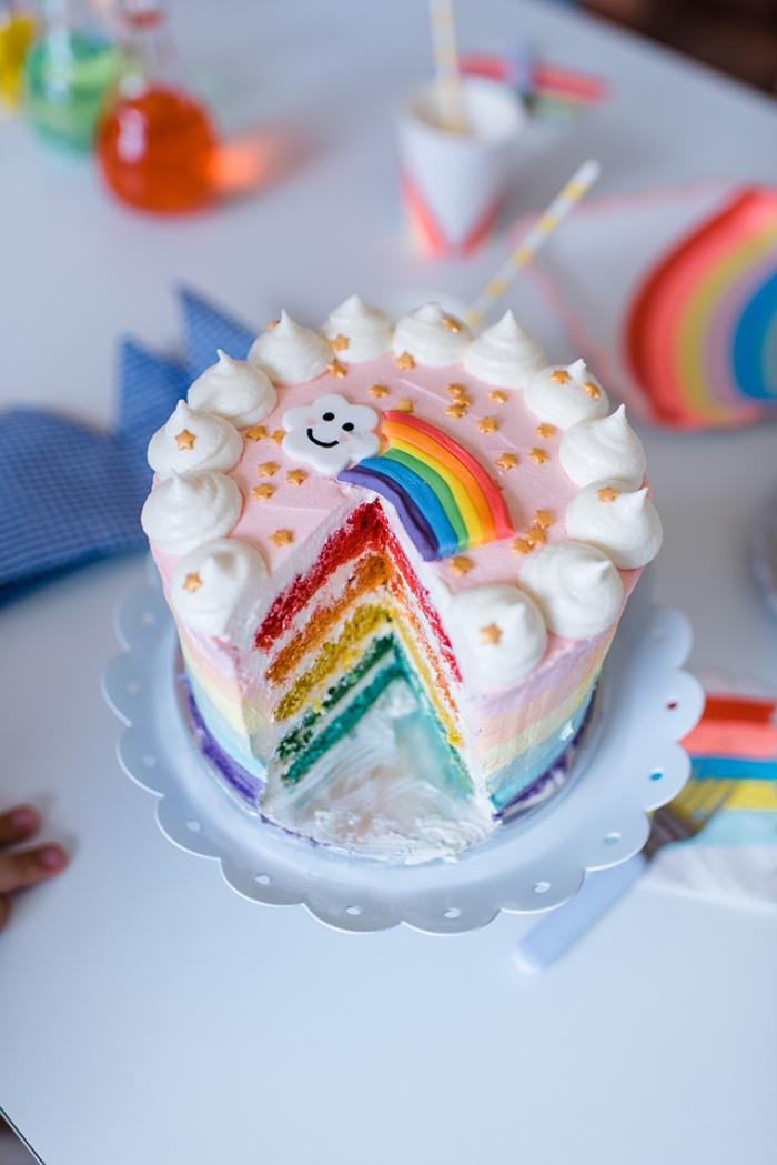 recette de rainbow cake nappé de glaçage aux couleurs pastel, décoré avec des meringues blanches et un joli arc-en-ciel en pâte à sucre